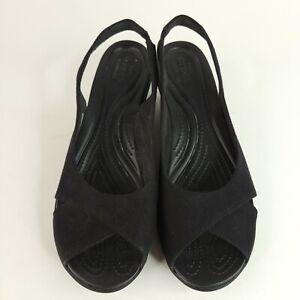 Crocs Leigh Ann Womens Black Fabric Slingback Wedge Sandals Size 10 GWUC