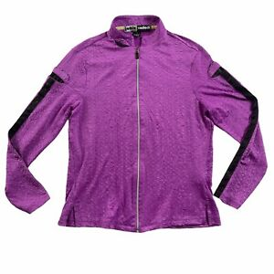Jamie Sadock Long Sleeve Purple Full Zippered Golf Top Shirt Women's Size Small
