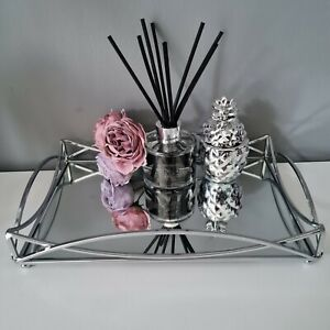 Metal Silver Mirror Table Centerpiece Rectangular Candle Plate Tray 29,35,41 cm