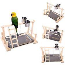 Parrot Playstand Bird Playground Wood Perch Gym Stand Playpen Ladder&Toys