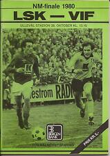 Football Programme - LSK v VIF - NM Cup Final (Norway) - 1980