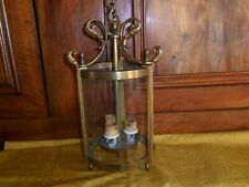 Antique French glass round lantern.Three lights.Brass and bronze.