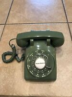 Western Electric Avocado Green Rotary Dial Desk Phone Bell System, Refurbished