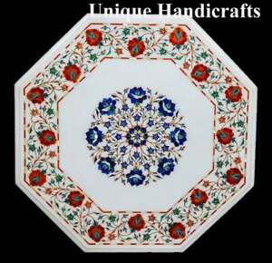 White Marble Inlay Breakfast Table Top Lapis Pietradura Floral Inlaid Stone Arts