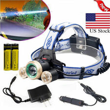 35000LM 3x LED Zoom LED Rechargeable 18650 Headlamp Head Light Torch Charger USA