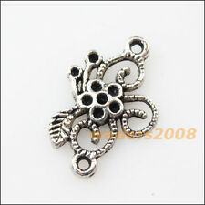 15 New Star Flower Connectors Tibetan Silver Tone Charms Pendants 15.5x23.5mm