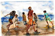 "A547-Signed Print of ORIGINAL WATERCOLOR PAINTING, ""Beach play"" kids Gift idea"