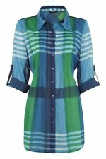Cotton V Neck Checked Tops & Shirts for Women
