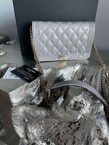 CHANEL 20B Grey Caviar Boy WOC Mini Clutch Gray Wallet On Chain Bag NEW 2020 NWT