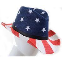 American Flag Cowboy Hat Stars Stripes USA Western Patriotic Cowgirl
