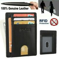 灬灬New Minimalist Slim Genuine Leather RFID Blocking Front Pocket Wallets for Men