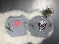 Toddler Girl Lot of 2 Long Sleeve Gray Shirts Osh Kosh Cat & Jack Size 3T 2T EUC