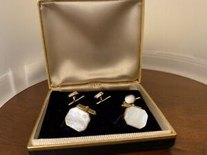 Vintage Swank Gold Tone White Cabochon Cuff Links Tuxedo Stud set Original Box