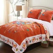 King Size Bohemian Floral Oversized Orange Folk Art Quilt Set REVERSIBLE Bed