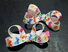 Lot of 2 small loopy boutique butterfly hair bows nonslip alligator clip
