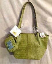 NINE WEST 'GET TOTALLY ORGANIZED' Green Apple Faux Leather Croc Embossed NWT