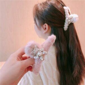 Luxury Crystal Hair Clips Bear Hair Accessories For Ladies Cute Fluffy Hairpins