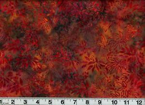 "Vintage Rust Gold Batik Fabric 44"" Wide OOP New Old Stock"