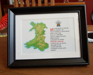 Framed Welsh National Anthem - Map of Wales - Welsh feathers