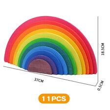 11pcs Wooden Rainbow Building Blocks DIY Educational Toys for Children Kids