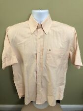 Mens Tommy Hilfiger Orange Striped Short Sleeve Button Front Small100% Cotton 5A