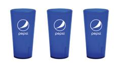 New (3) Pepsi Cola Restaurant Blue Plastic Tumblers Cups 16oz Carlisle