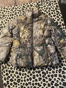 Real Tree Jacket womens Puffer Coat Camo Zip up Pink Fleece Lined Xl