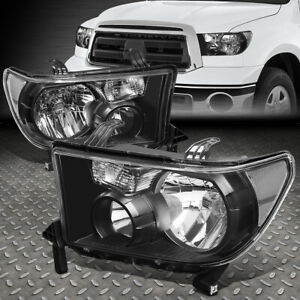 FOR 07-13 TOYOTA TUNDRA 08-17 SEQUOIA BLACK HOUSING CLEAR CORNER HEADLIGHT LAMP