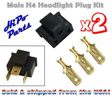 "2 x Plastic Male H4 Headlight Plug Kit w/ Terminals fits 7"" Round Lamps"