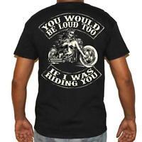 T Shirt Tattoo Skull Motorcycle no Harley pistons too loud Biker Rock vintage