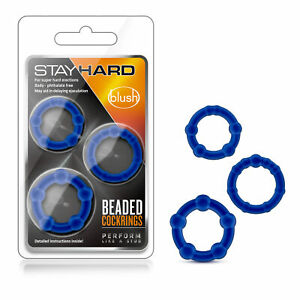 Blush - Genuine Stay Hard Stretchy Beaded Male Enhancement Cock Ring Set - Blue