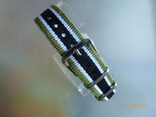 Uhrenarmband Nylon 16 mm grün weiß schwarz NATOBAND Dornschließe Textil