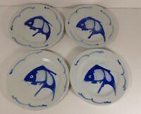 Vintage Blue Carp Handpainted Entree Plates 4