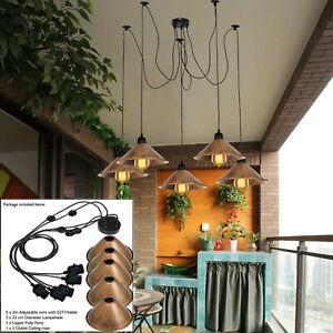 Vintage Pendant Ceiling Lights 5Shade Lamp Industrial Chandelier Retro Spider UK