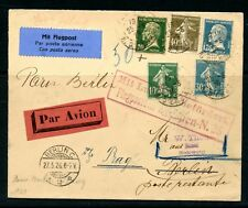 FRANCE 1926 Paris-Berlin-Prague Flight envelope franke 10c, 30c & 40c....