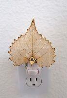 Nightlight - Real Cottonwood Leaf-  Preserved in 24K gold coating-  unique