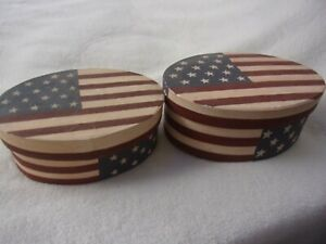 Primitive Country Patriotic Oval Nesting Boxes