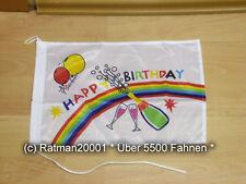 Fahnen Flagge Happy Birthday Geburtstag Bootsfahne Tischwimpel - 27 x 40 cm
