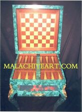 MALACHITE & BRONZE BACKGAMMON, CHESS AND CHECKERS GAME TABLE. CUSTOM MADE PIECE.