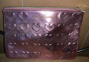 "Too Faced Heart Love Soft Metallic Rose Gold Makeup Cosmetic Zipper Bag 9"" x6.5"""