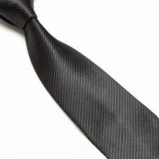 Solid Black Striped Classic Men's 100% Silk Tie Necktie Woven JACQUARD Neck Ties