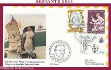 W180 VATICANO FDC ROMA VISITA PAPA GIOVANNI PAOLO II CECOSLOVACCHIA PRAGA  1990