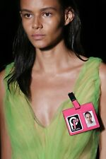 PRADA F/W 2018 RUNWAY Hot Pink Saffiano Leather Logo ID Badge Name Tag NIB