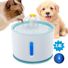 2.4L Automatic Pet Water Fountain Dog Cat LED Drinking Dispenser with Filters