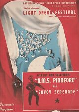 Los Angeles Civic Light Opera 1940 Program-Hms Pinafore And Savoy Serenade