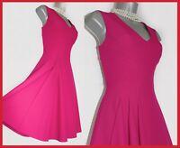 Karen Millen UK 10 Dark Pink Fit & Flare Tea Cocktail Race Prom Party Dress EU38