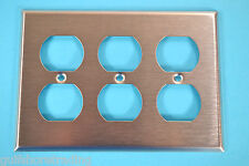 Electric Outlet Cover Plate Stainless Steel 3-Gang Duplex Outlet 97103 wallplate