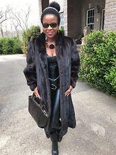 Designer James McQuay Full Length Sable contrast color Mink Fur Coat Jacket M-L