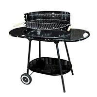 Oval Trolley BBQ Barbecue Steel Grill Outdoor Garden Patio Wheels Charcoal Black