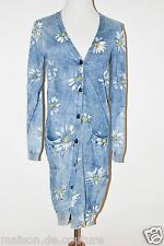 DOLCE GABBANA BLUE CAMOMILE WHITE FLOWER FLORAL PRINT BUTTON DOWN CARDIGAN SMALL